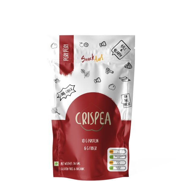 Crispea- Peri Peri | Roasted Chickpeas Snacks | High Protein & Fiber | Pack of 5