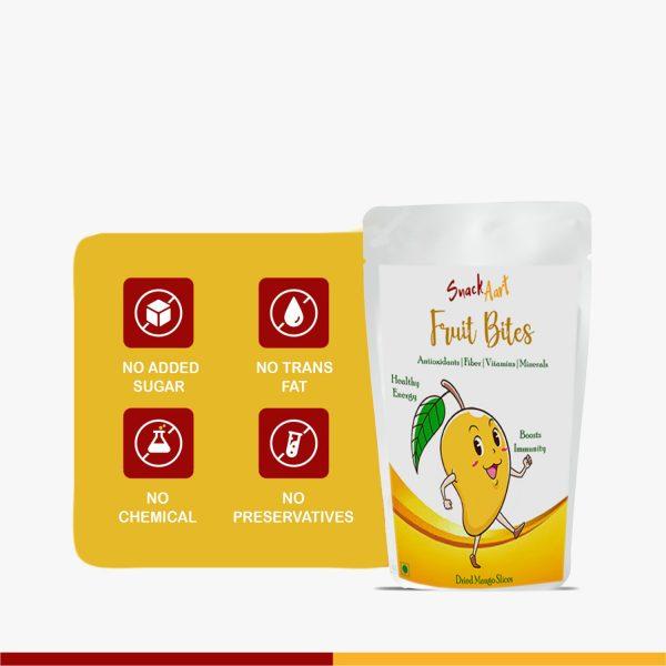 Fruit Bites-Dried Mango Slices | Pack of 2 |100gms