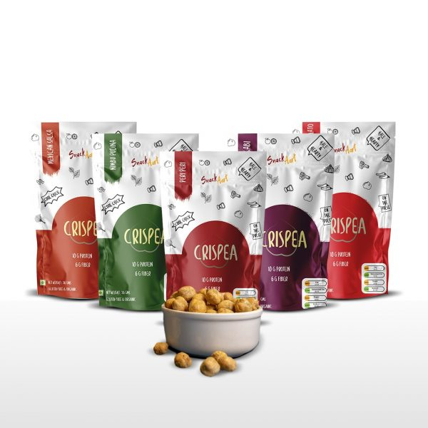 Crispea-Roasted Chickpea Snacks | High Protein & Fiber | Multi-Flavor Pack of 5