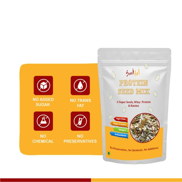 Protein Seed Mix   6 Super Seeds, Whey Proteins & Dried Fruits   Pack of 3 X 90g