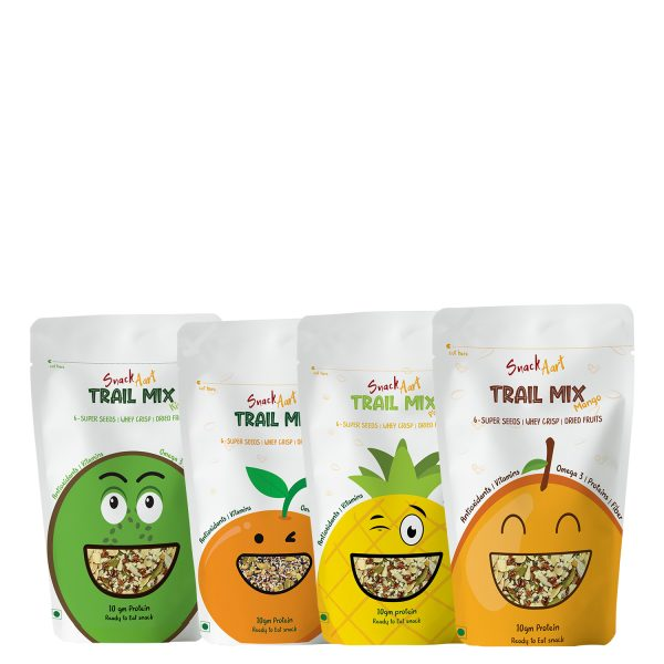 Trail Mix- All Fruits Combo | 6 Super Seed Mix, Whey Proteins, Dried Fruits | Pack of 4