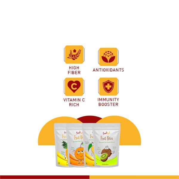 Fruit Bites- Dried kiwi Slices | Healthy Fruit Snacks| Pack of 2 X 100g
