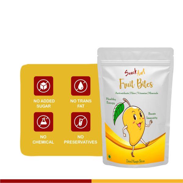 Fruit Bites- Dried Mango Slices   Healthy Fruit Snacks  Pack of 2 X 100g