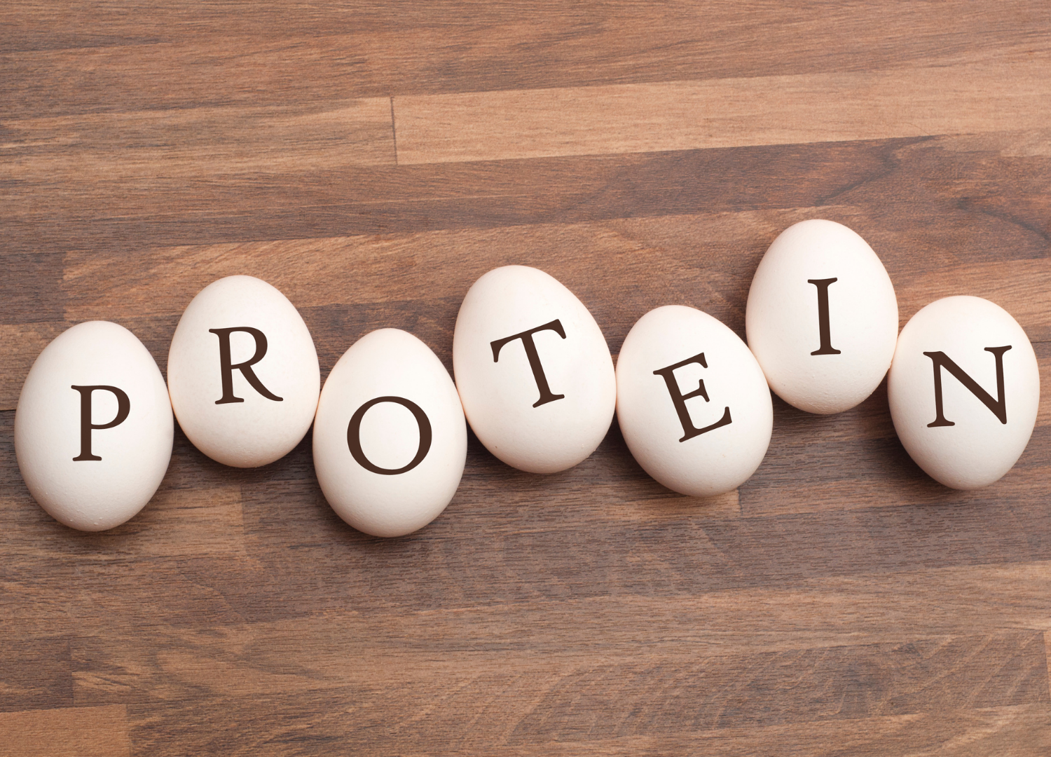 protein written on eggs on brown background