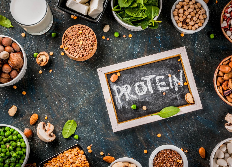 Protein rich foods arranged
